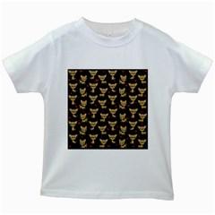 Chihuahua Pattern Kids White T Shirts