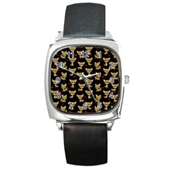 Chihuahua Pattern Square Metal Watch