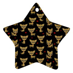 Chihuahua Pattern Star Ornament (two Sides)
