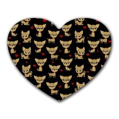 Chihuahua Pattern Heart Mousepads