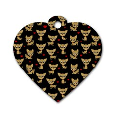 Chihuahua Pattern Dog Tag Heart (one Side)
