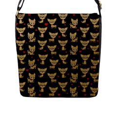 Chihuahua Pattern Flap Messenger Bag (l)