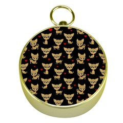 Chihuahua Pattern Gold Compasses