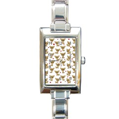 Chihuahua Pattern Rectangle Italian Charm Watch