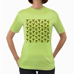 Chihuahua Pattern Women s Green T Shirt