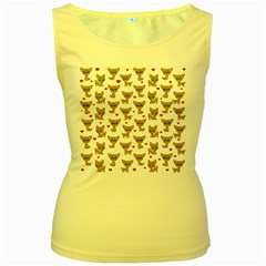 Chihuahua Pattern Women s Yellow Tank Top