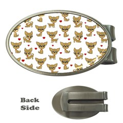 Chihuahua Pattern Money Clips (oval)