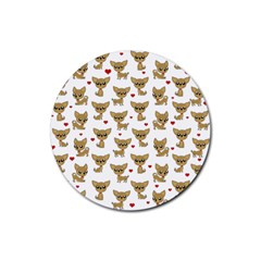 Chihuahua Pattern Rubber Round Coaster (4 Pack)