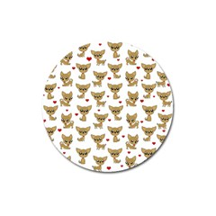 Chihuahua Pattern Magnet 3  (round)