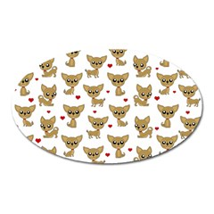Chihuahua Pattern Oval Magnet