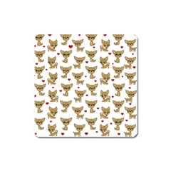 Chihuahua Pattern Square Magnet