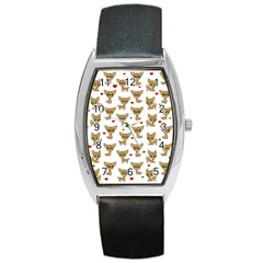 Chihuahua Pattern Barrel Style Metal Watch