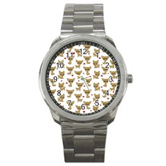 Chihuahua Pattern Sport Metal Watch