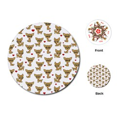 Chihuahua Pattern Playing Cards (round)