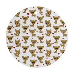 Chihuahua Pattern Round Ornament (two Sides)