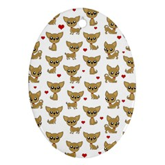 Chihuahua Pattern Oval Ornament (two Sides)