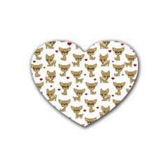 Chihuahua Pattern Rubber Coaster (heart)
