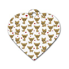 Chihuahua Pattern Dog Tag Heart (two Sides)