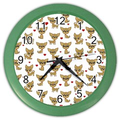 Chihuahua Pattern Color Wall Clocks