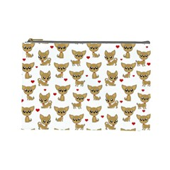 Chihuahua Pattern Cosmetic Bag (large)