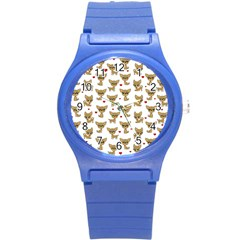 Chihuahua Pattern Round Plastic Sport Watch (s)