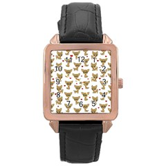 Chihuahua Pattern Rose Gold Leather Watch