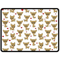 Chihuahua Pattern Double Sided Fleece Blanket (large)