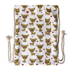 Chihuahua Pattern Drawstring Bag (large)