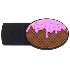 Chocolate And Strawberry Icecream Usb Flash Drive Oval (4 Gb)
