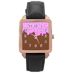 Chocolate And Strawberry Icecream Rose Gold Leather Watch