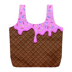 Chocolate And Strawberry Icecream Full Print Recycle Bags (l)