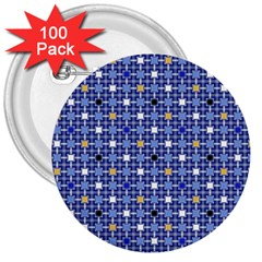 Persian Block Sky 3  Buttons (100 Pack)
