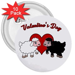 Valentines Day   Sheep  3  Buttons (10 Pack)