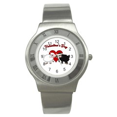 Valentines Day   Sheep  Stainless Steel Watch