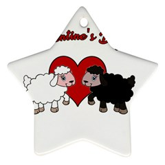 Valentines Day   Sheep  Star Ornament (two Sides)
