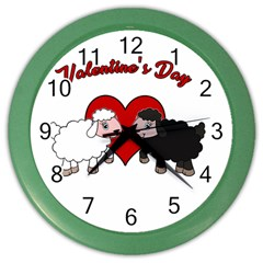 Valentines Day   Sheep  Color Wall Clocks
