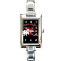 Valentines Day   Sheep  Rectangle Italian Charm Watch