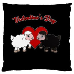 Valentines Day   Sheep  Large Flano Cushion Case (one Side)
