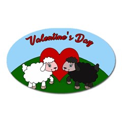 Valentines Day   Sheep  Oval Magnet