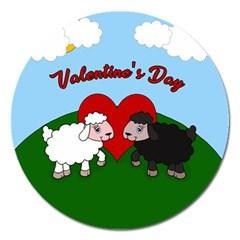 Valentines Day   Sheep  Magnet 5  (round)