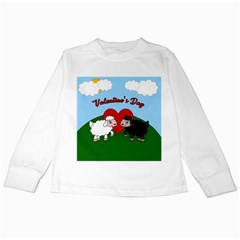 Valentines Day   Sheep  Kids Long Sleeve T Shirts