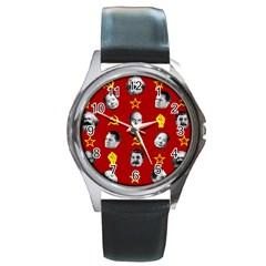 Communist Leaders Round Metal Watch