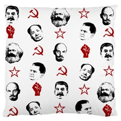 Communist Leaders Large Flano Cushion Case (two Sides)