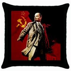 Lenin  Throw Pillow Case (black)