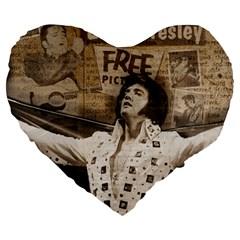 Vintage Elvis Presley Large 19  Premium Heart Shape Cushions
