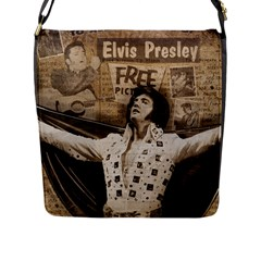 Vintage Elvis Presley Flap Messenger Bag (l)