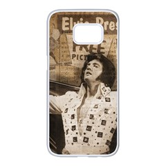 Vintage Elvis Presley Samsung Galaxy S7 Edge White Seamless Case
