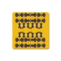 Ornate Circulate Is Festive In Flower Decorative Square Magnet