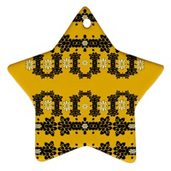 Ornate Circulate Is Festive In Flower Decorative Star Ornament (two Sides)