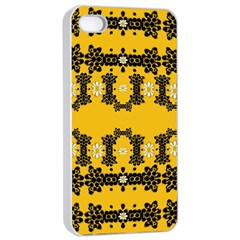 Ornate Circulate Is Festive In Flower Decorative Apple Iphone 4/4s Seamless Case (white)